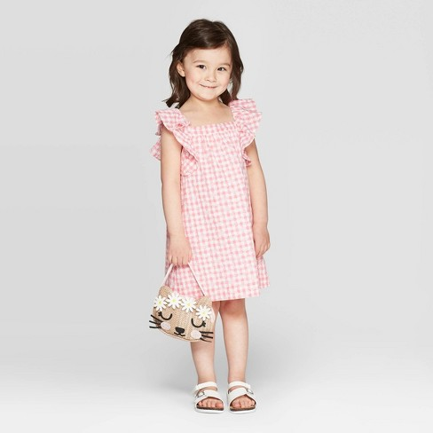 48d746485ae Mila   Emma Toddler Girls  Ruffle Tank Gingham Eyelet Dress - Pink White