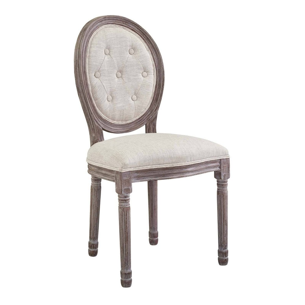 Arise Vintage French Upholstered Fabric Dining Side Chair Beige - Modway