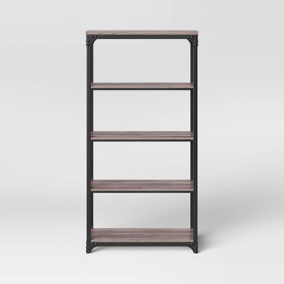 Jackman Industrial Wood 4 Shelf Bookcase Brown - Threshold™