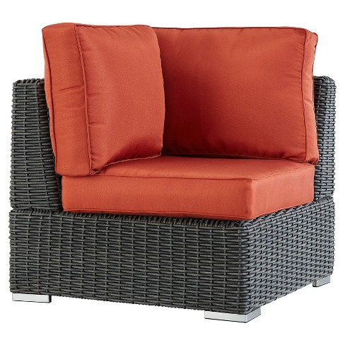 Riviera Pointe Wicker Patio Corner Chair with Cushions - Charcoal/Red - Inspire Q - image 1 of 2