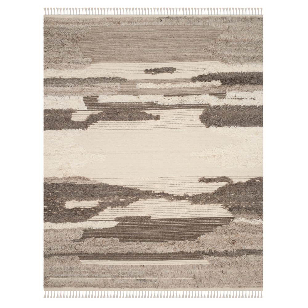 Ivory Gray Camouflage Knotted Area Rug 9 X12 Safavieh