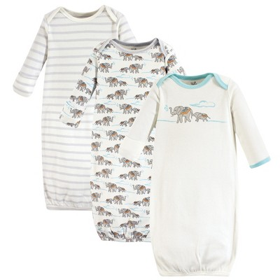 Touched by Nature Baby Organic Cotton Long-Sleeve Gowns 3pk, Cream Elephant, 0-6 Months