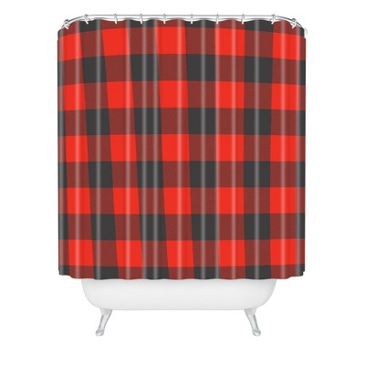 Winter Cabin Plaid Shower Curtain Red - Deny Designs