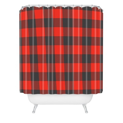 Winter Cabin Plaid Shower Curtain Red