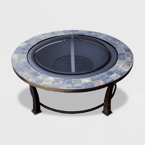 Round Slated Top Wood Burning Outdoor Fire Pit - Gray - AZ Patio Heaters - image 1 of 1