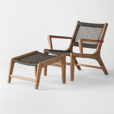 View Photos & Oceans 2pc Wood u0026 Rope Patio Club Chair u0026 Ottoman Set - Project 62 ...