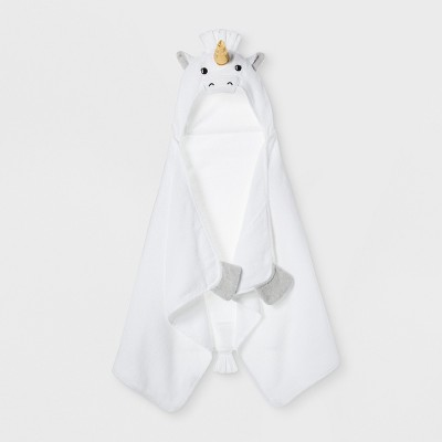 Unicorn Hooded Bath Towel White - Pillowfort™