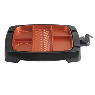 Brentwood Multi-Portion Electric Indoor Grill with Non-Stick Copper Coating