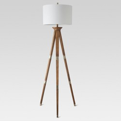 Oak Wood Tripod Floor Lamp Brass - Threshold™