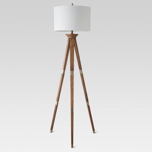 Oak Wood Tripod Floor Lamp Brass - Threshold™ - image 1 of 4