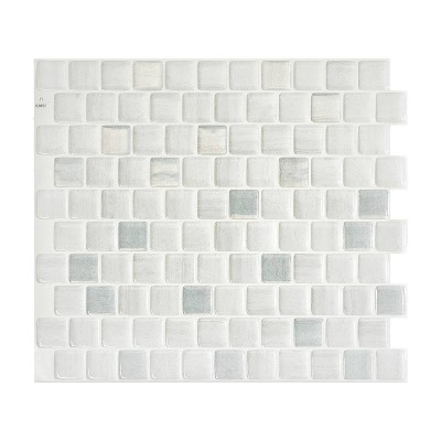 "Smart Tiles 3D Peel and Stick Backsplash 4 Sheets of 10.20"" x 8.85"" Kitchen and Bathroom Wallpaper Brixia Pisa"