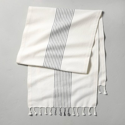 Core Stripes Twisted Fringe Oversized Table Runner Blue/Cream - Hearth & Hand™ with Magnolia