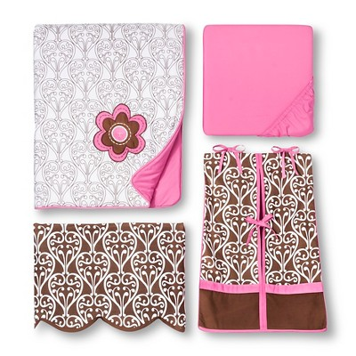 Bacati Crib Bedding Set - 10pc - Pink/Chocolate Damask