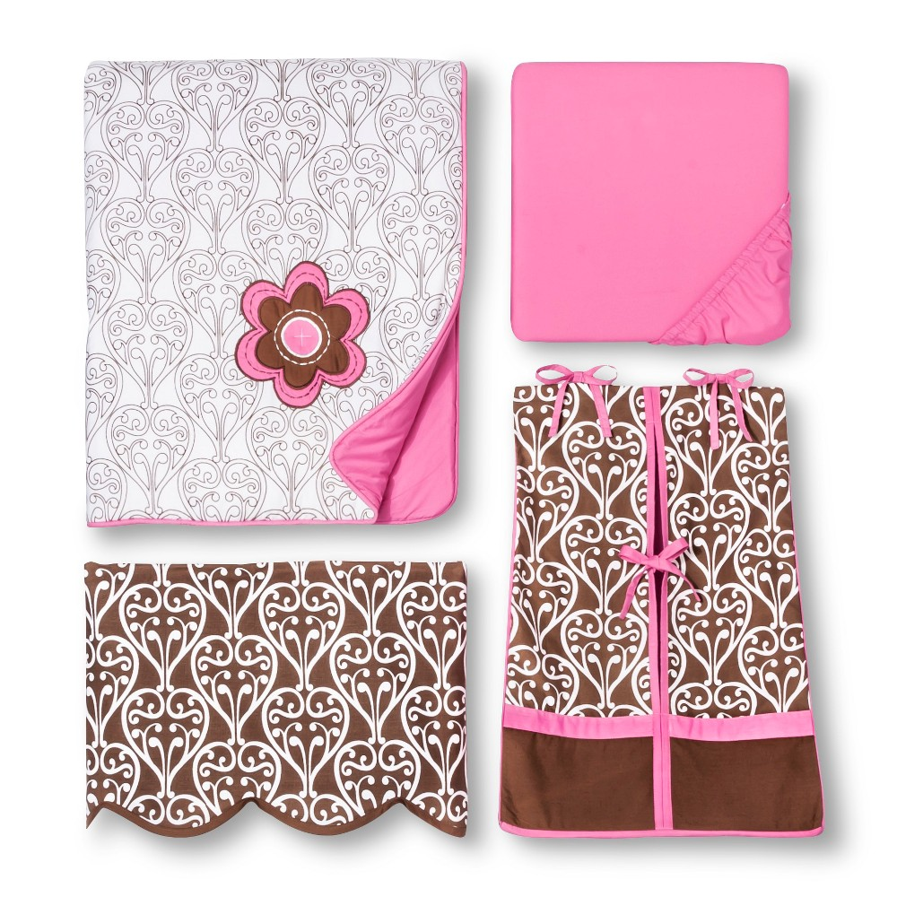 Image of Bacati Crib Bedding Set - 10pc - Pink/Chocolate Damask
