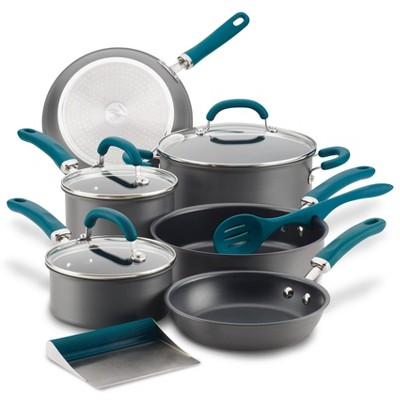 Rachael Ray Create Delicious 11pc Hard Anodized Nonstick Cookware Set Teal Handles
