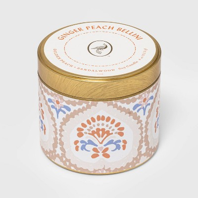4oz Mini Patterned Tin Ginger Peach Bellini Candle - Opalhouse™