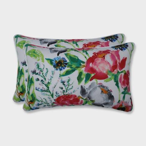 2pk Flower Mania Petunia Rectangular Throw Pillows Pink - Pillow Perfect - image 1 of 2
