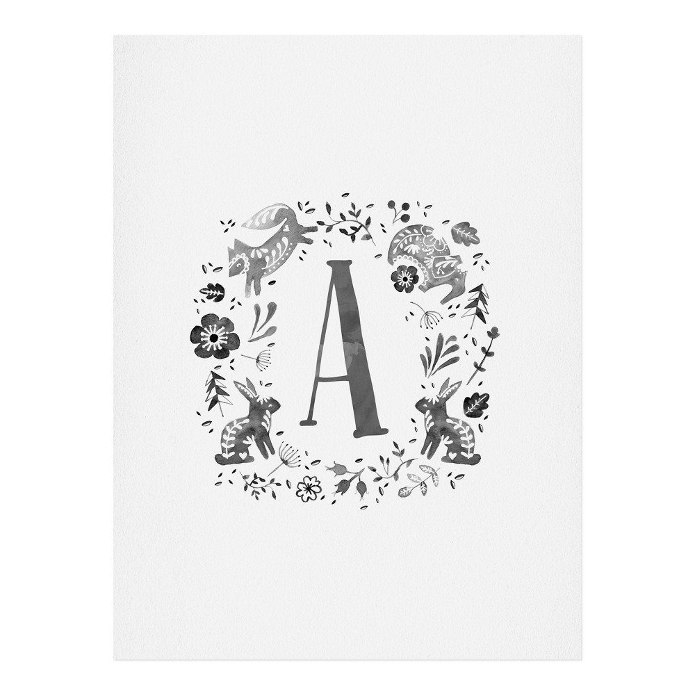 "Image of ""11""""x14"""" Wonder Forest Folky Forest Monogram Letter """"A"""" Art Print Unframed Wall Poster Gray - Deny Designs"""