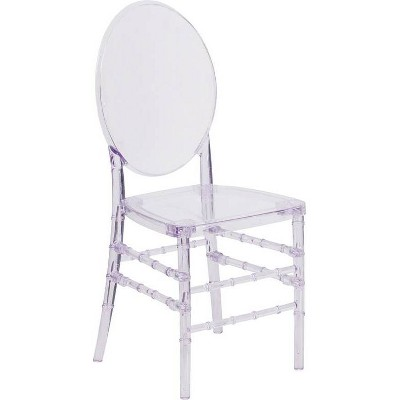 Flash Elegance Stacking Florence Chair with Elongated Oval Back Clear - Riverstone Furniture Collection