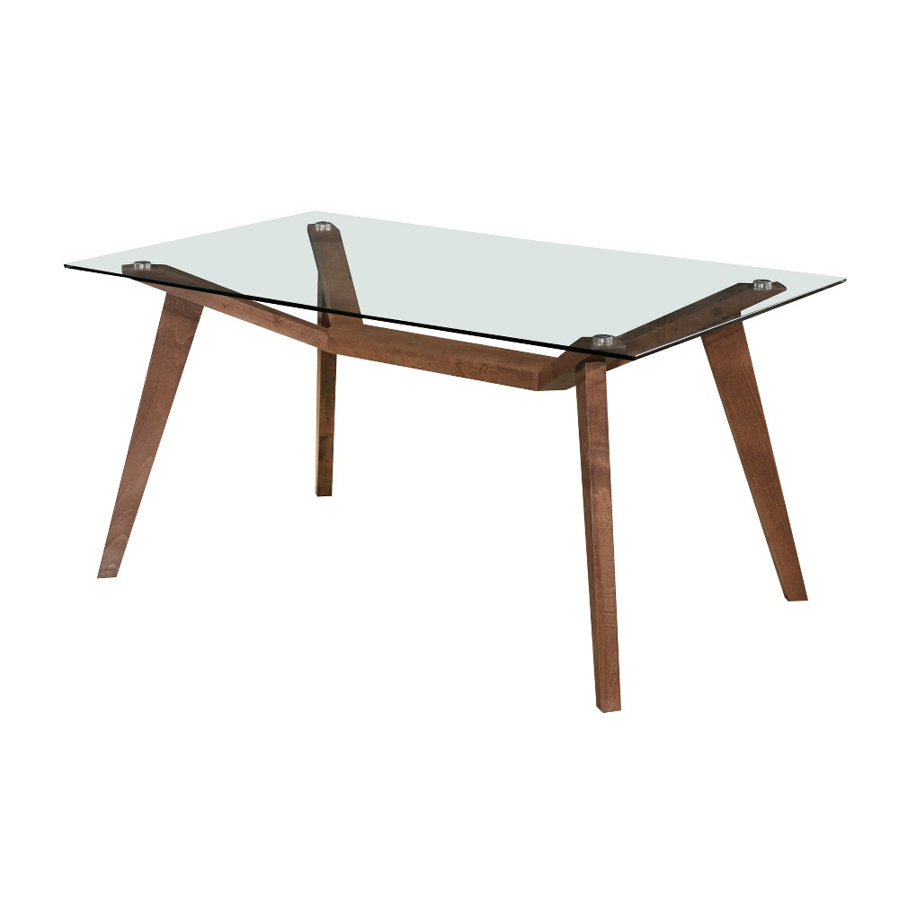 Lavinia Rectangular Dining Table with Glass Top Walnut (Brown) - Aeon