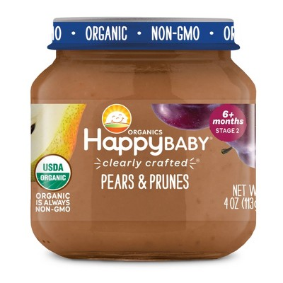 HappyBaby Clearly Crafted Pears & Prunes Baby Food Jar - 4oz