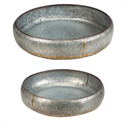 Cape Craftsmen Nested Dark Galvanized Metal with Brass Sauder Succulent Dish Planters, Set of 2