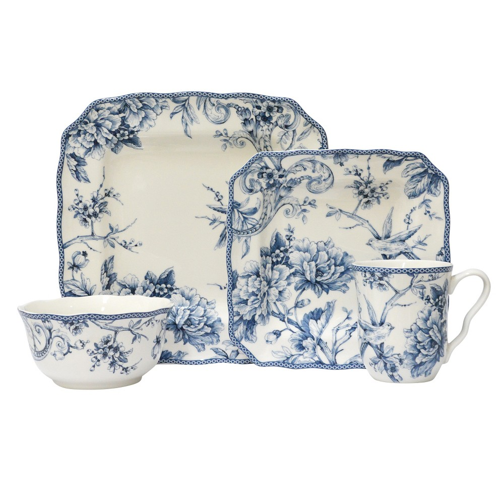 Image of 222 Fifth Adelaide Porcelain 16pc Dinnerware Set Blue, White Blue