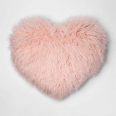 Faux Fur Heart Oversize Throw Pillow Pink