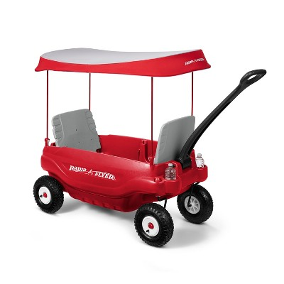 Radio Flyer 3106X Deluxe Plastic All Terrain Family Ride On Pull Kid Wagon with 5 Position Folding Seats, Safety Belts, and UV Protective Canopy, Red