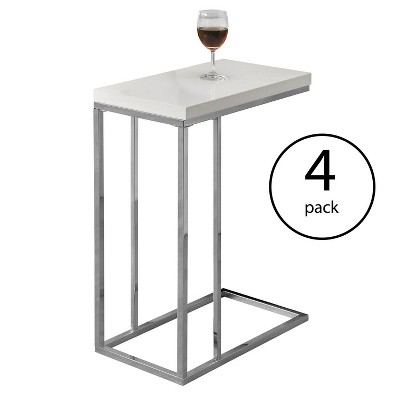 Monarch Specialties Contemporary Accent Rectangular Side Table, White (4 Pack)