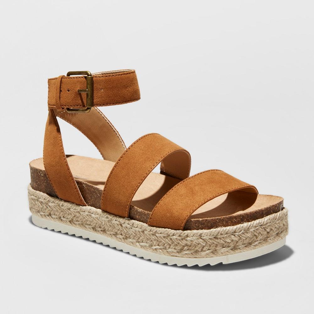 Women's Agnes Wide Width Quarter Strap Espadrille Flatform Sandals - Universal Thread Cognac (Red) 12W, Size: 12 Wide