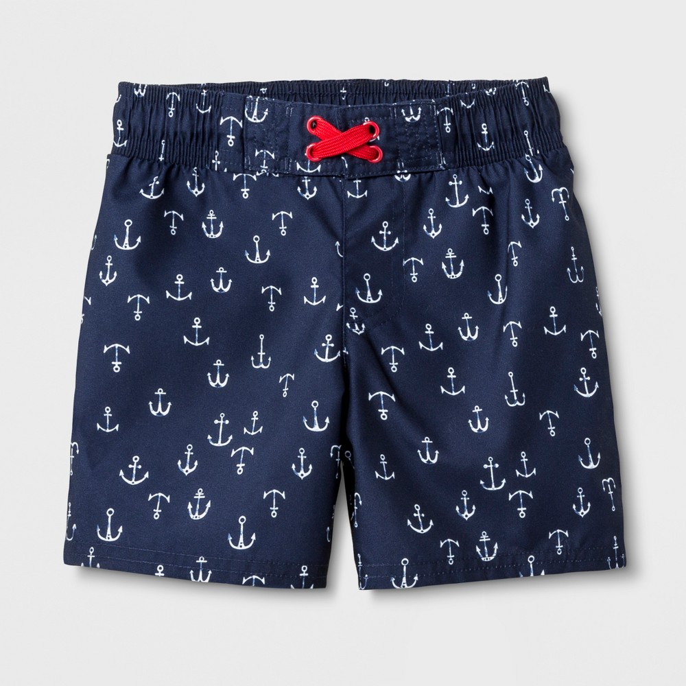Toddler Boys' Anchor Print Swim Trunks - Cat & Jack Navy 7, Blue