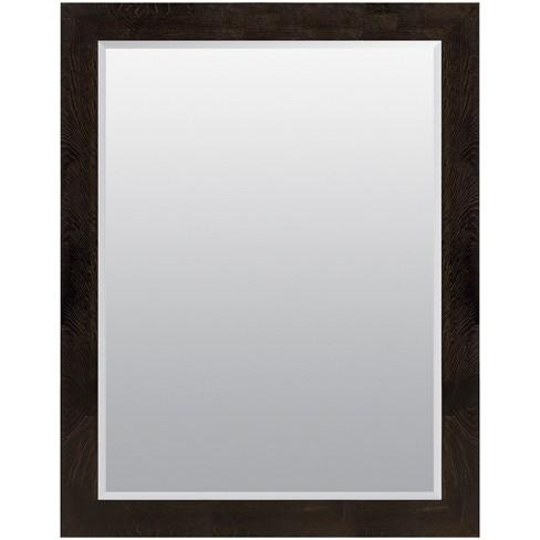 36x48 Woodgrain Framed Beveled Wall Or Leaner Mirror Black
