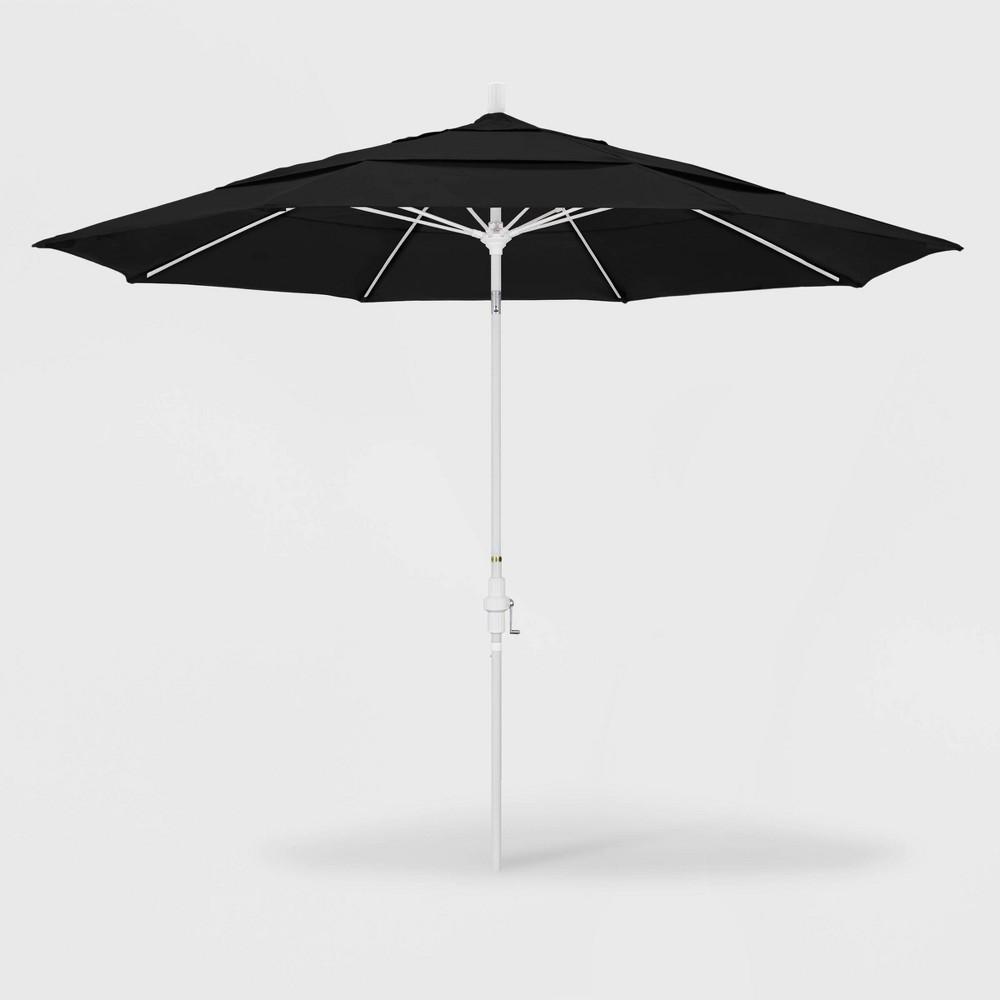 Image of 11' Sun Master Patio Umbrella Collar Tilt Crank Lift - Sunbrella Black - California Umbrella