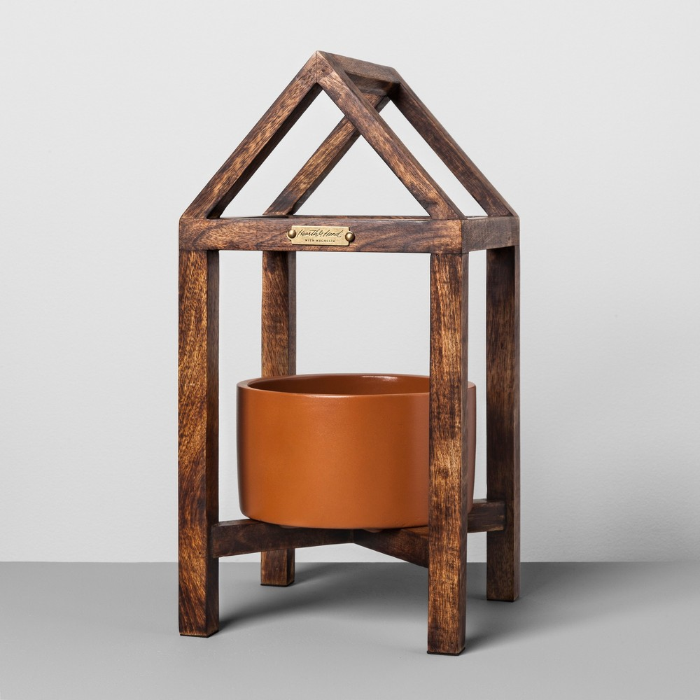 Terracotta and Wood House Plant Stand - Small - Hearth & Hand with Magnolia, Multi-Colored