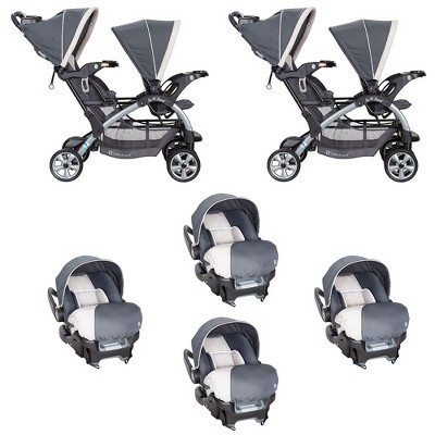 Baby Trend 5 Point Harness Double Stroller & 35 LB Infant Car Seat w/ Car Base