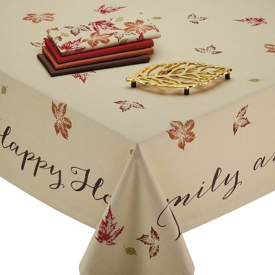 120 x60  Rustic Leaves Print Tablecloth Tan - Design Imports