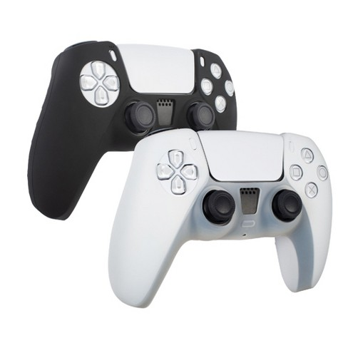 Insten Controller Grip Cover Case Compatible with PS5 Controller - Protective Silicone Skin, 2 Pack (Black/White) - image 1 of 4