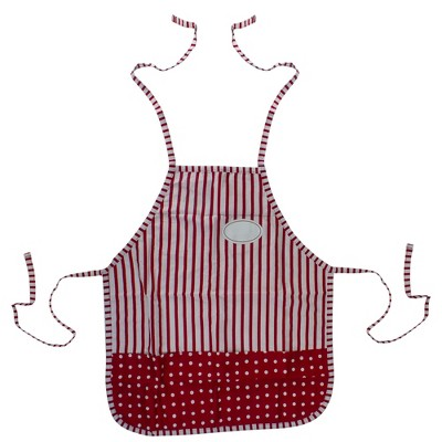 """Northlight 27"""" Red and White Vintage Inspired Kitchen Apron"""
