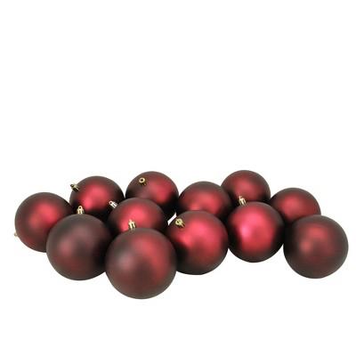 "Northlight 12ct Shatterproof Matte Christmas Ball Ornament Set 4"" - Red"