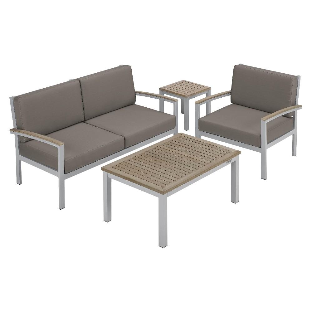 Travira 4pc Seat & Table Chat Set Powder Coated Aluminum with Stone Cushion - Vintage Teakwood - Oxford Garden, Vintage Tekwood