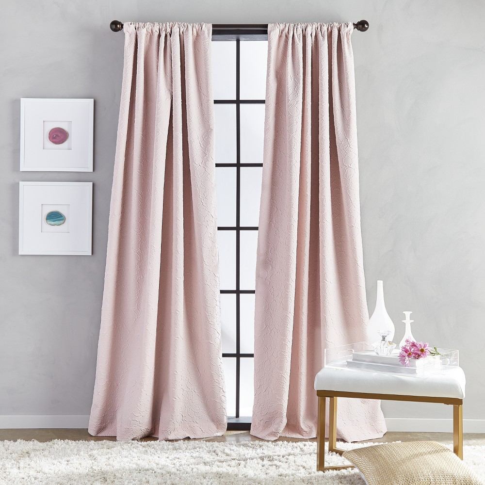 "Image of ""108"""" Bloomsbury Poletop Lined Curtain Panel Blush"""