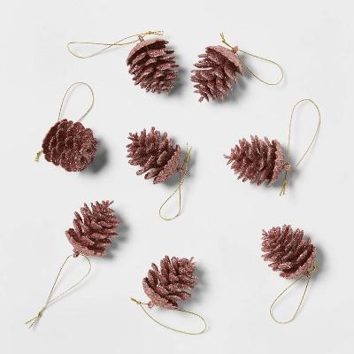 8ct Glitter Pinecone Christmas Ornament Set - Wondershop™