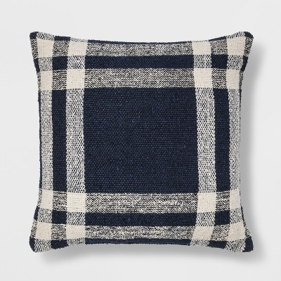 Woven Plaid Square Throw Pillow Blue - Threshold™