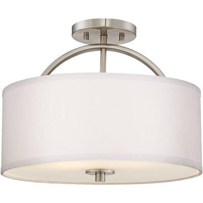 "Possini Euro Design Modern Ceiling Light Semi Flush Mount Fixture Brushed Nickel 15"" Wide White Linen Drum Shade Bedroom Kitchen"