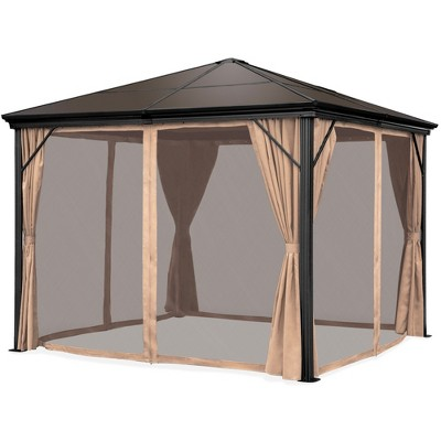 Best Choice Products 10x10ft Hardtop Gazebo, Outdoor Aluminum Canopy for Backyard, Garden w/ Side Curtains, Netting