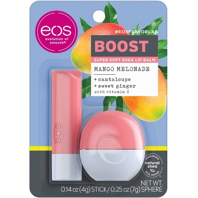 eos flavorlab Lip Balm Stick & Sphere - Boost - Mango Melonade - 0.39oz