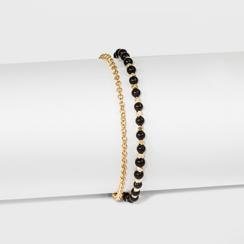 Women's Silver Plated Onyx Bead with Pave Disk Bracelet - Gold (8)