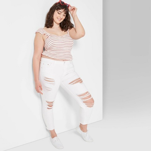 Women's Plus Size High-Rise Distressed Skinny Jeans - Wild Fable™ White - image 1 of 3