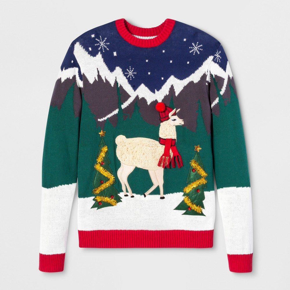 Image of 33 Degrees Men's Ugly Christmas Fringe Llama Long Sleeve Pullover Sweater - Red 2XL